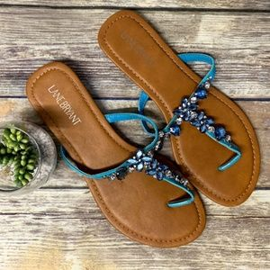 Lane Bryant Blue Rhinestone Floral Thong Sandals